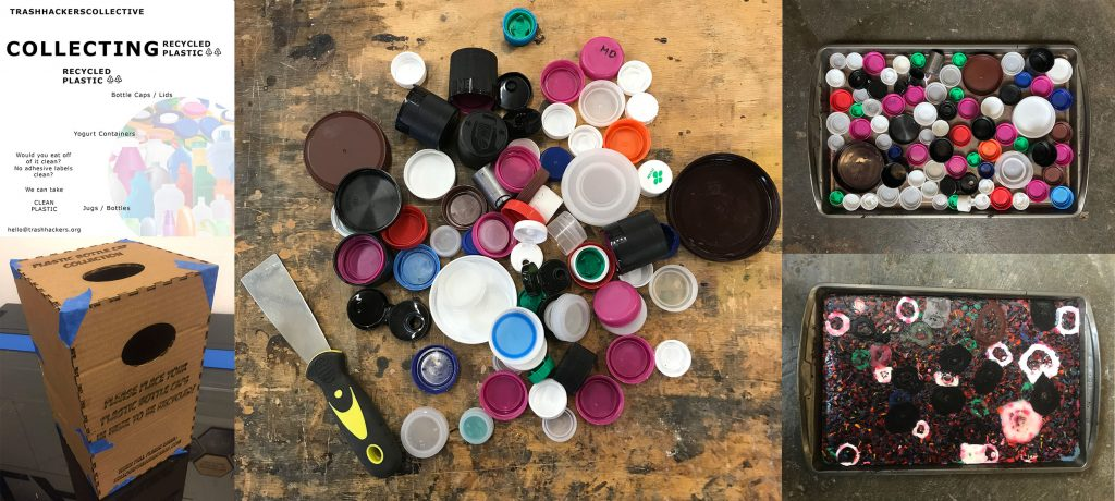 showing stages of THC bottle cap collection project
