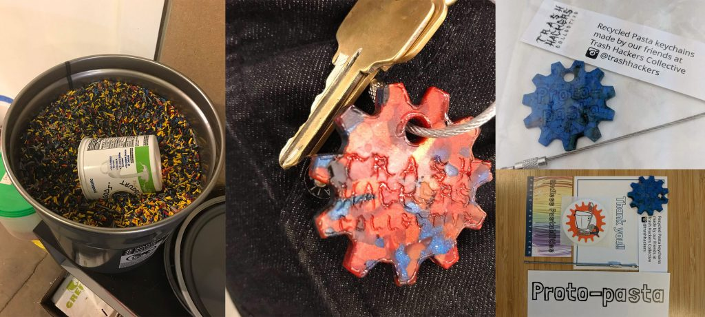 image collage describing project: 3D printing waste filament, keychains made from recycled filament, promo giveaway