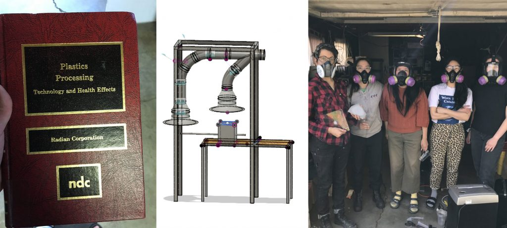 Photo collage showing research book on plastics and health, Emma's model for a vent system, mask-safety training.